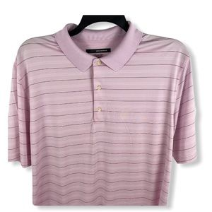 Greg Normans Play Dry Pink Striped Golf Polo SZ XL